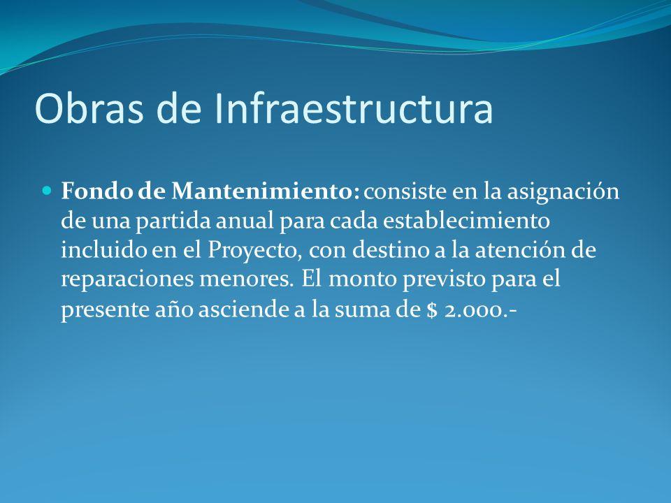 Obras de Infraestructura Fondo de Mantenimiento: consiste en la asignación de una partida anual para cada establecimiento incluido en el Proyecto, con destino a la atención de reparaciones menores.