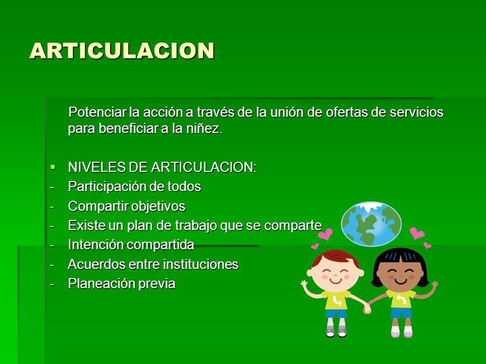 ARTICULACION Potenciar la acción a través de la unión de ofertas de servicios para beneficiar a la niñez. Potenciar la acción a través de la unión de