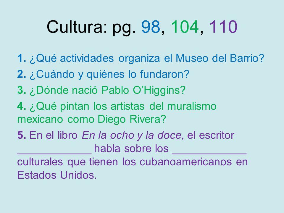 Cultura: pg. 98, 104, 110 1. ¿Qué actividades organiza el Museo del Barrio? 2. ¿Cuándo y quiénes lo fundaron? 3. ¿Dónde nació Pablo OHiggins? 4. ¿Qué