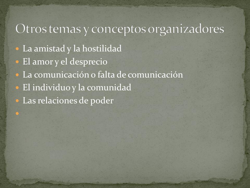 La amistad y la hostilidad El amor y el desprecio La comunicación o falta de comunicación El individuo y la comunidad Las relaciones de poder