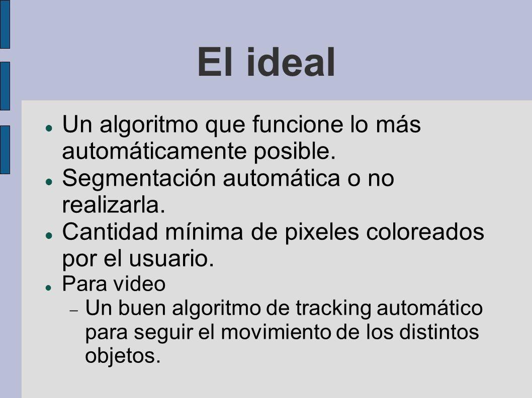 El ideal Un algoritmo que funcione lo más automáticamente posible. Segmentación automática o no realizarla. Cantidad mínima de pixeles coloreados por
