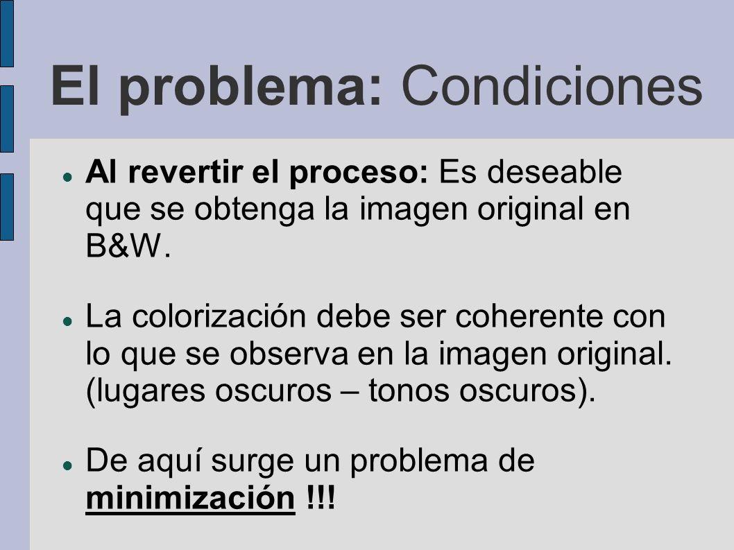 El problema: Condiciones Al revertir el proceso: Es deseable que se obtenga la imagen original en B&W. La colorización debe ser coherente con lo que s