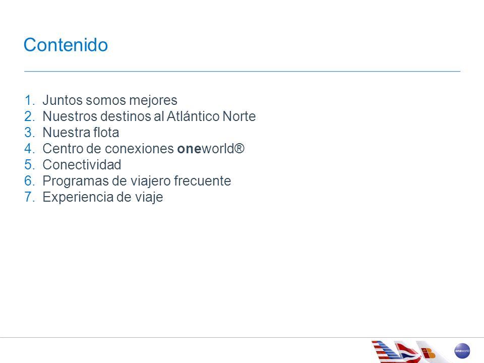 AGENDA American Airlines, British Airways e Iberia ofrecen: Más de 400 destinos entre Europa, EEUU, Canadá y México Más de 100 países Más de 5,000 salidas diarias Más de 70 millones de miembros del programa de viajero frecuente Aproximadamente 200 Salas VIP en el mundo Juntos somos Mejores