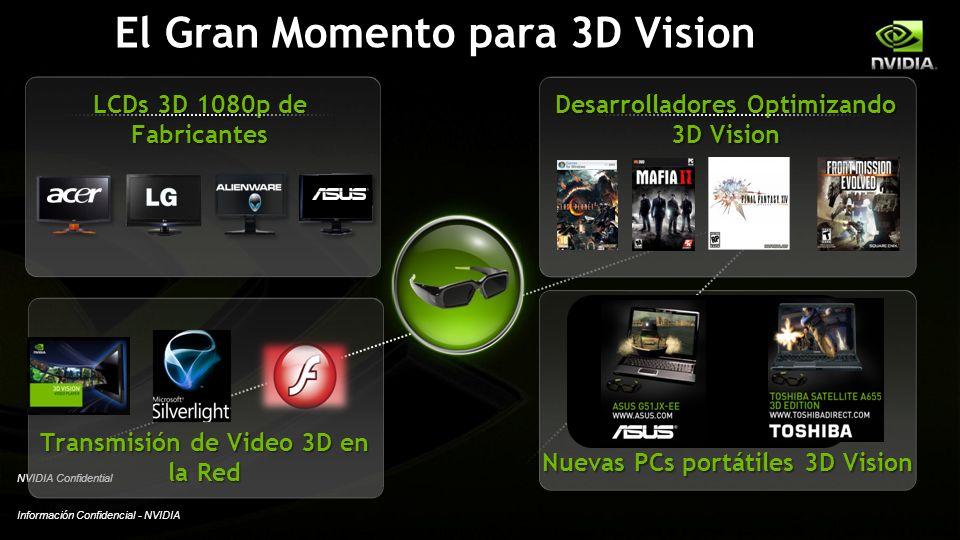 Información Confidencial - NVIDIA NVIDIA Confidential El Gran Momento para 3D Vision Transmisión de Video 3D en la Red Nuevas PCs portátiles 3D Vision