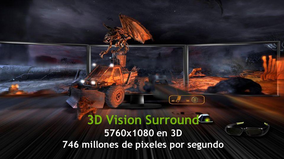 Información Confidencial - NVIDIA NVIDIA Confidential 3D Vision Surround 5760x1080 en 3D 746 millones de pixeles por segundo