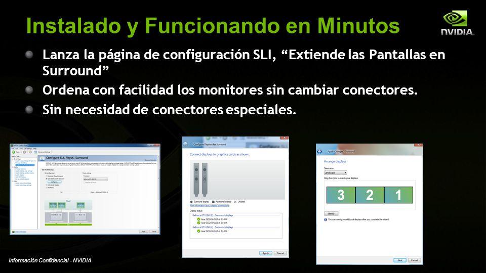 Información Confidencial - NVIDIA Instalado y Funcionando en Minutos Lanza la página de configuración SLI, Extiende las Pantallas en Surround Ordena c