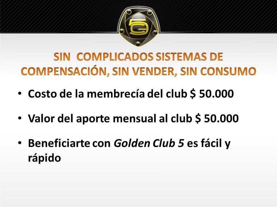 Costo de la membrecía del club $ 50.000 Valor del aporte mensual al club $ 50.000 Beneficiarte con Golden Club 5 es fácil y rápido