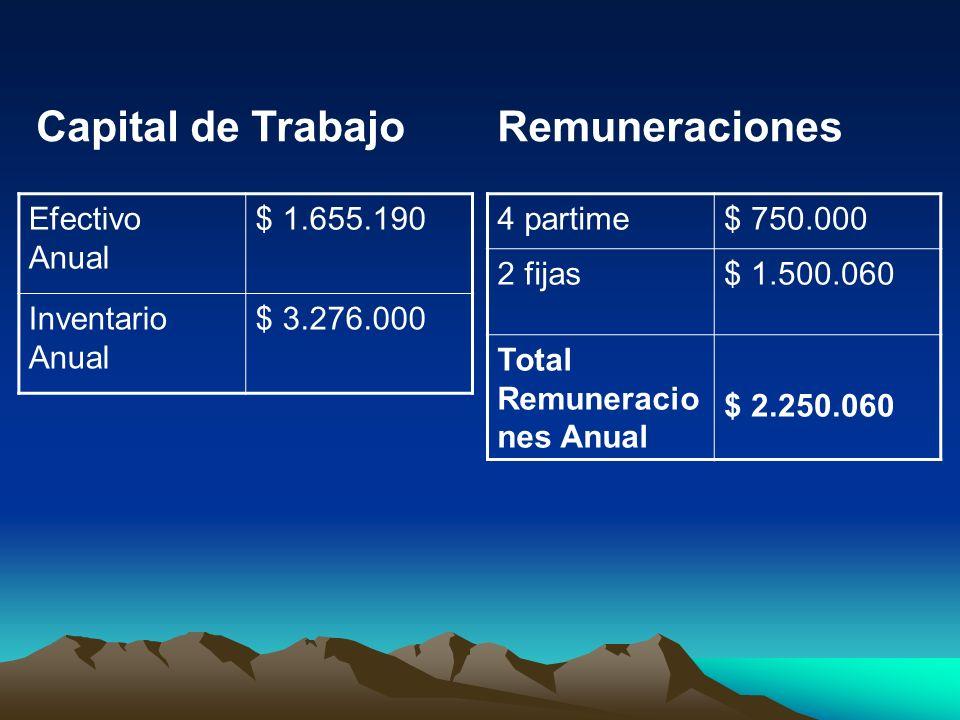 Capital de Trabajo Efectivo Anual $ 1.655.190 Inventario Anual $ 3.276.000 Remuneraciones 4 partime$ 750.000 2 fijas$ 1.500.060 Total Remuneracio nes