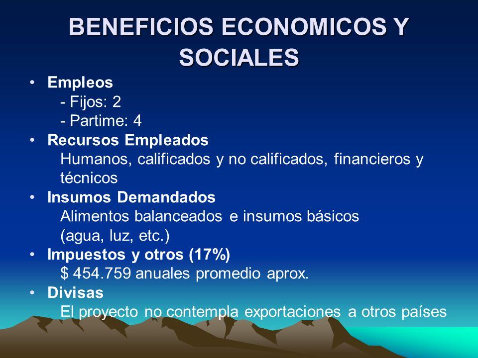 BENEFICIOS ECONOMICOS Y SOCIALES Empleos - Fijos: 2 - Partime: 4 Recursos Empleados Humanos, calificados y no calificados, financieros y técnicos Insu
