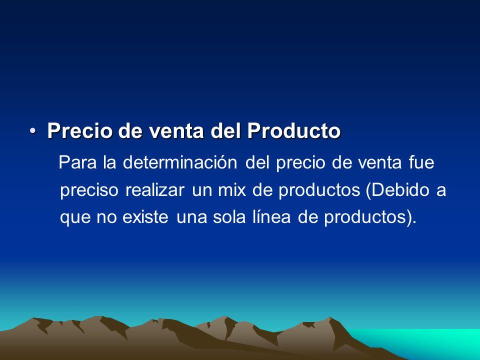 Precio de venta del ProductoPrecio de venta del Producto Para la determinación del precio de venta fue preciso realizar un mix de productos (Debido a