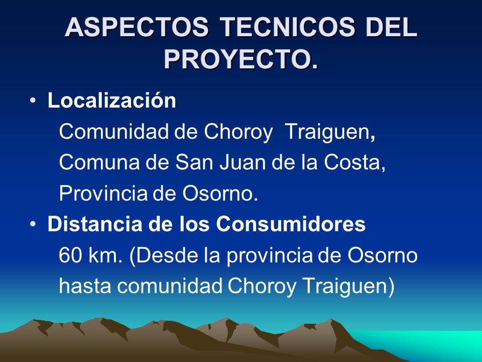 ASPECTOS TECNICOS DEL PROYECTO. Localización Comunidad de Choroy Traiguen, Comuna de San Juan de la Costa, Provincia de Osorno. Distancia de los Consu
