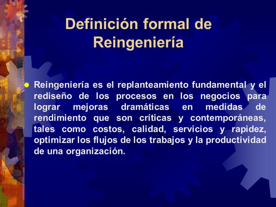 Definición formal de Reingeniería Reingeniería es el replanteamiento fundamental y el rediseño de los procesos en los negocios para lograr mejoras dra