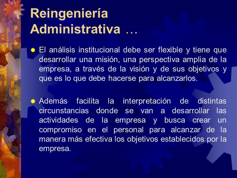 Reingeniería Administrativa … El análisis institucional debe ser flexible y tiene que desarrollar una misión, una perspectiva amplia de la empresa, a