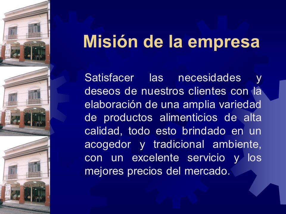 Misión de la empresa Satisfacer las necesidades y deseos de nuestros clientes con la elaboración de una amplia variedad de productos alimenticios de a