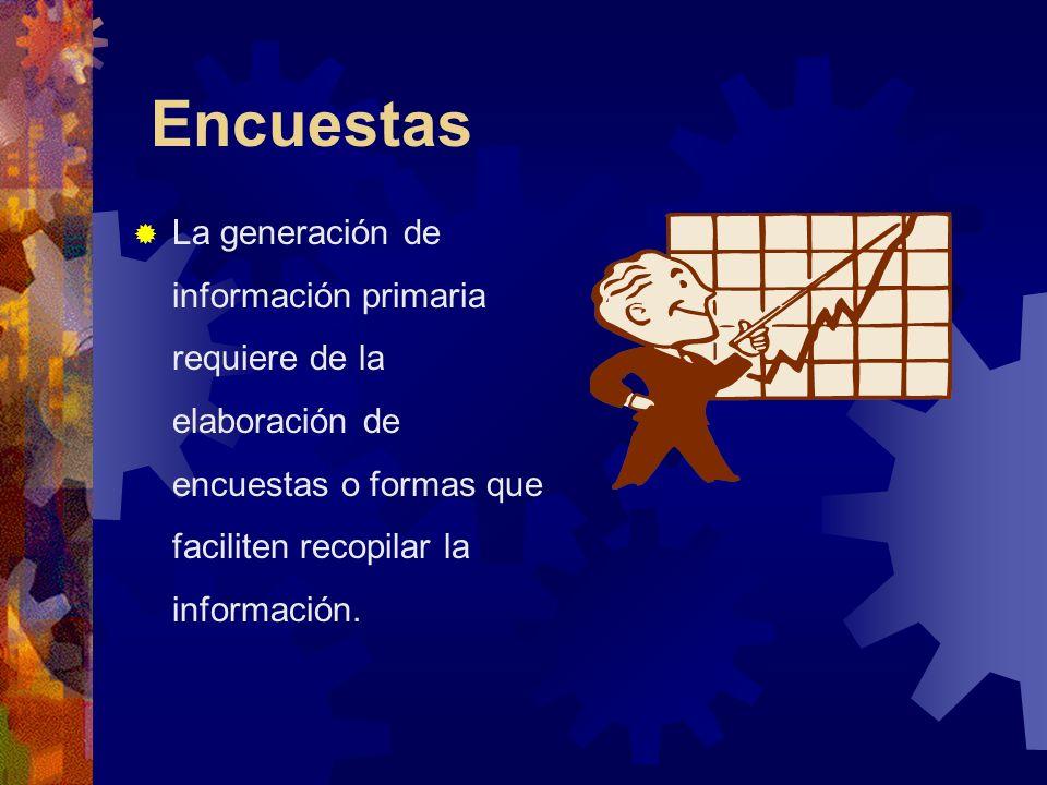 Encuestas La generación de información primaria requiere de la elaboración de encuestas o formas que faciliten recopilar la información.