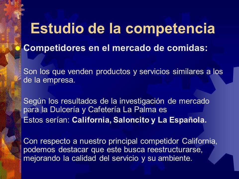 Estudio de la competencia Competidores en el mercado de comidas: Son los que venden productos y servicios similares a los de la empresa. Según los res