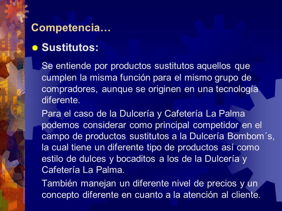 Competencia… Sustitutos: Se entiende por productos sustitutos aquellos que cumplen la misma función para el mismo grupo de compradores, aunque se orig