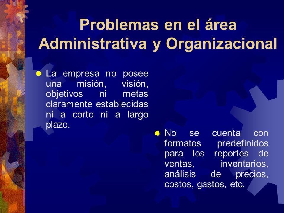 Problemas en el área Administrativa y Organizacional… No se cuenta con formatos predefinidos para los reportes de ventas, inventarios, análisis de precios, costos, gastos, etc.