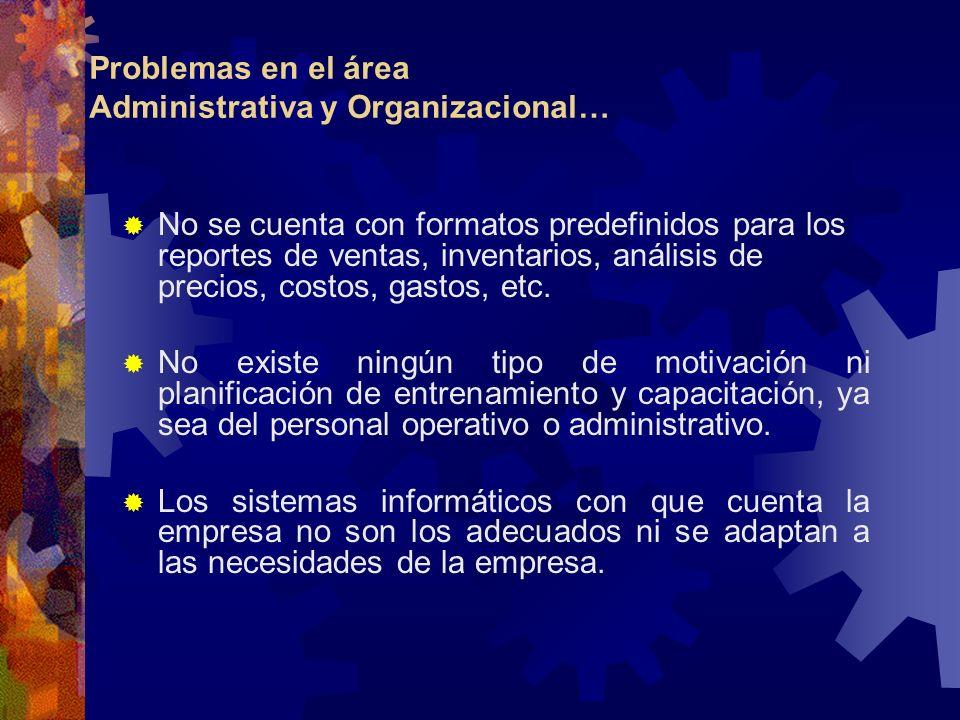 Problemas en el área Administrativa y Organizacional… No se cuenta con formatos predefinidos para los reportes de ventas, inventarios, análisis de pre