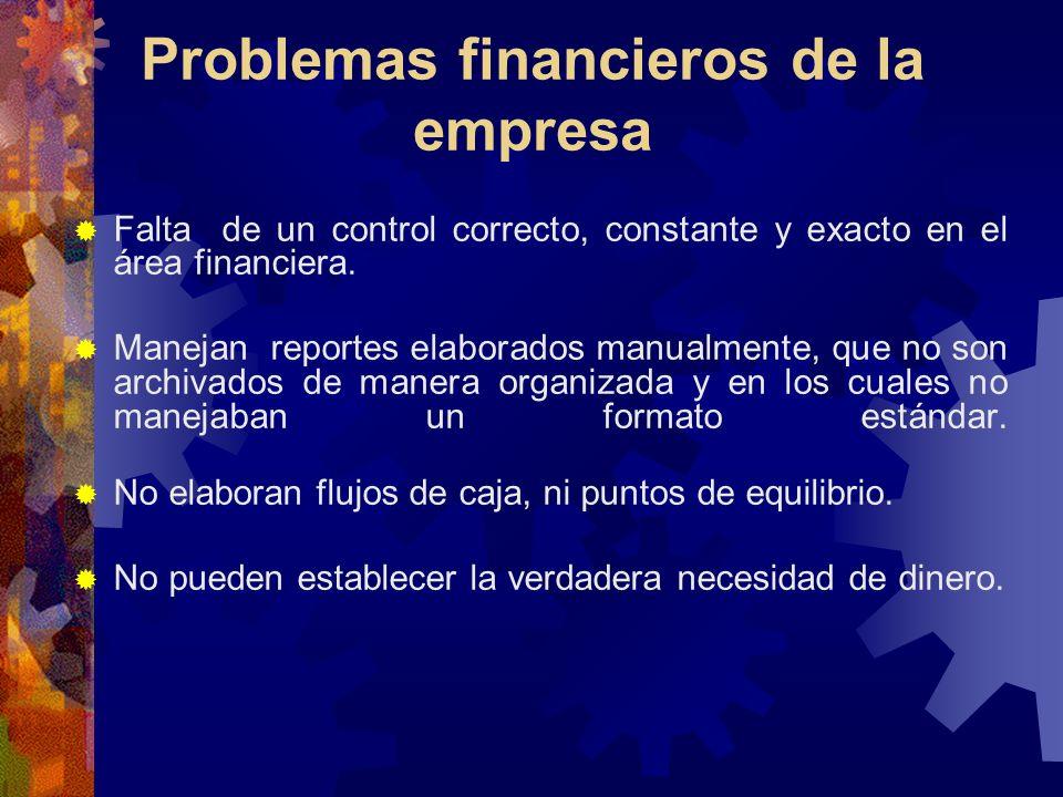 Problemas financieros de la empresa Falta de un control correcto, constante y exacto en el área financiera. Manejan reportes elaborados manualmente, q