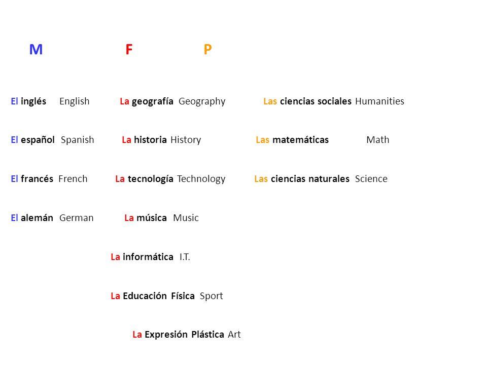 M F P El inglésEnglish La geografía Geography Las ciencias sociales Humanities El español Spanish La historia History Las matemáticas Math El francés