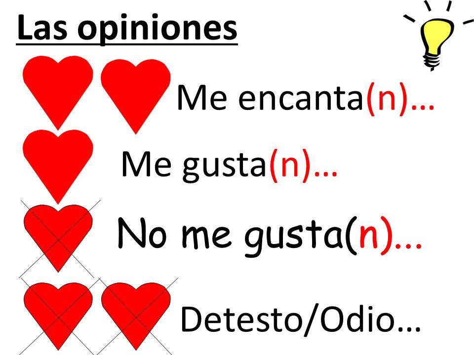 No me gusta(n)... Detesto/Odio… Me encanta(n)… Me gusta(n)… Las opiniones