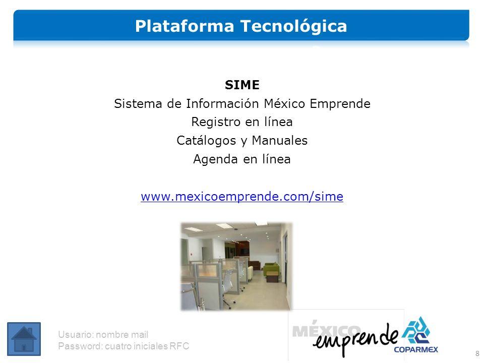 SIME Sistema de Información México Emprende Registro en línea Catálogos y Manuales Agenda en línea www.mexicoemprende.com/sime 8 Usuario: nombre mail Password: cuatro iniciales RFC