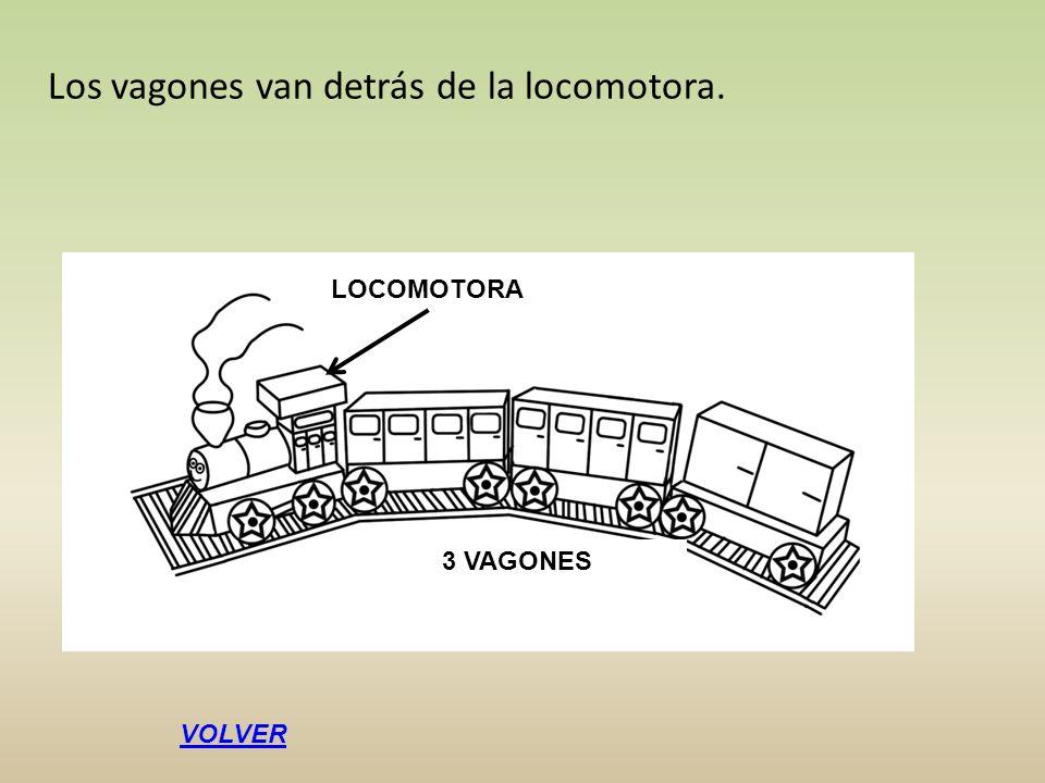 Los vagones van detrás de la locomotora. LOCOMOTORA 3 VAGONES VOLVER