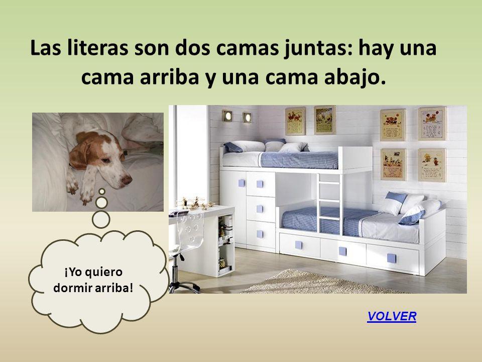 Las literas son dos camas juntas: hay una cama arriba y una cama abajo. VOLVER ¡Yo quiero dormir arriba!