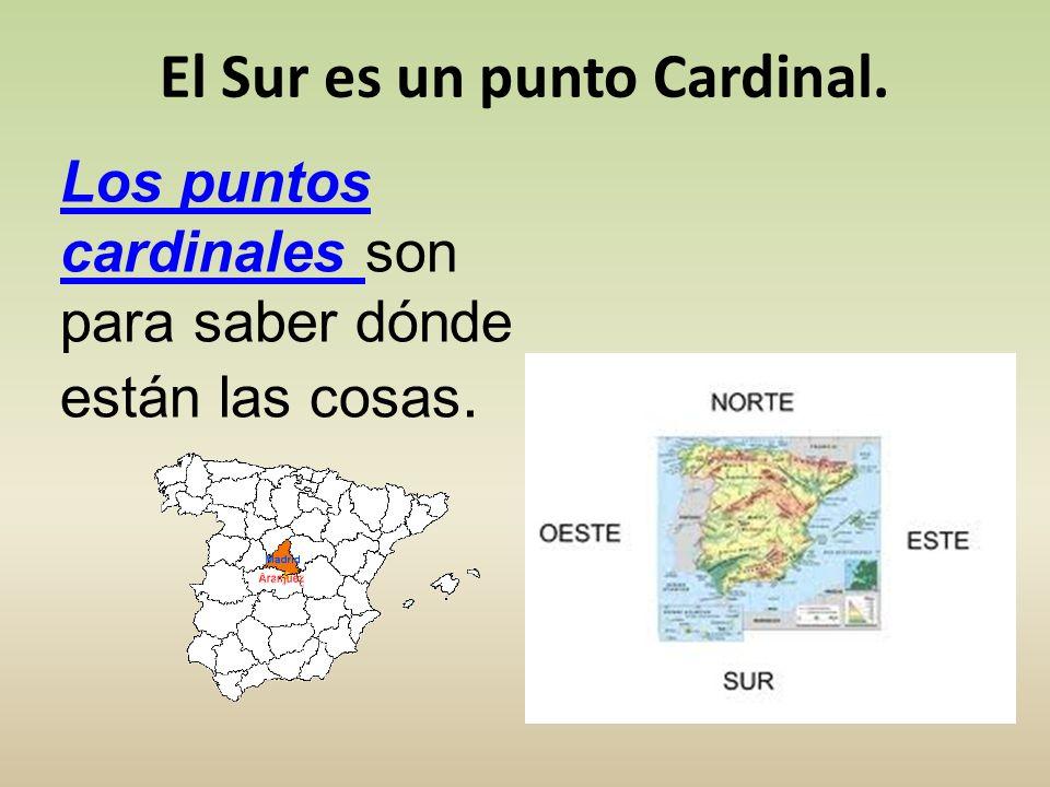 Los puntos cardinales Los puntos cardinales son para saber dónde están las cosas. El Sur es un punto Cardinal.
