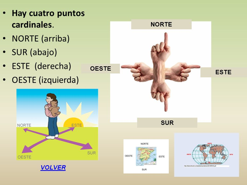 Hay cuatro puntos cardinales. NORTE (arriba) SUR (abajo) ESTE (derecha) OESTE (izquierda) NORTE OESTE ESTE SUR VOLVER