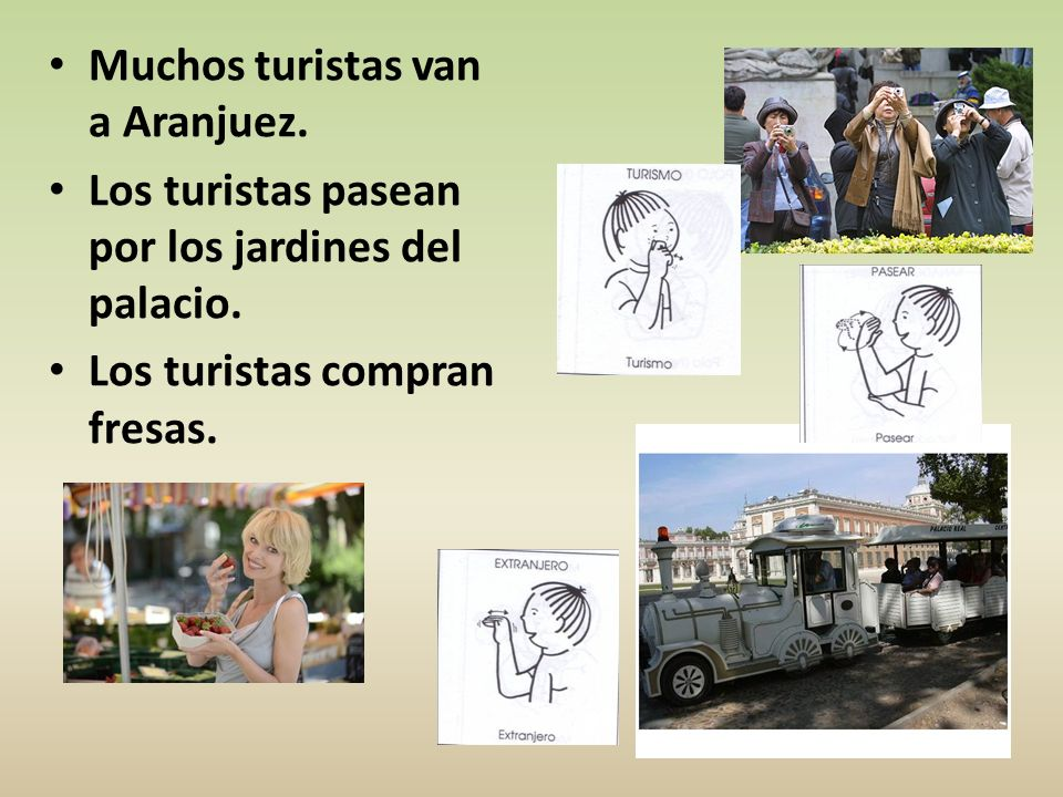 Muchos turistas van a Aranjuez. Los turistas pasean por los jardines del palacio. Los turistas compran fresas.