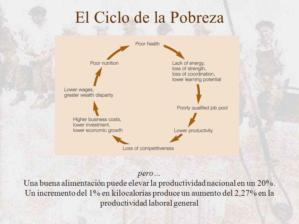 El Ciclo de la Pobreza pero… Una buena alimentación puede elevar la productividad nacional en un 20%. Un incremento del 1% en kilocalorías produce un