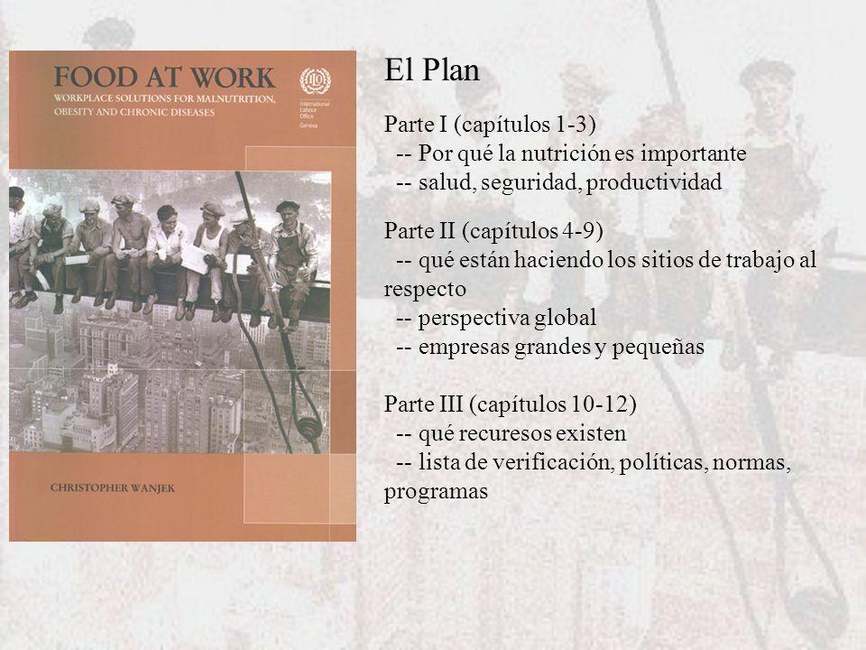 El Plan Parte I (capítulos 1-3) -- Por qué la nutrición es importante -- salud, seguridad, productividad Parte II (capítulos 4-9) -- qué están haciend