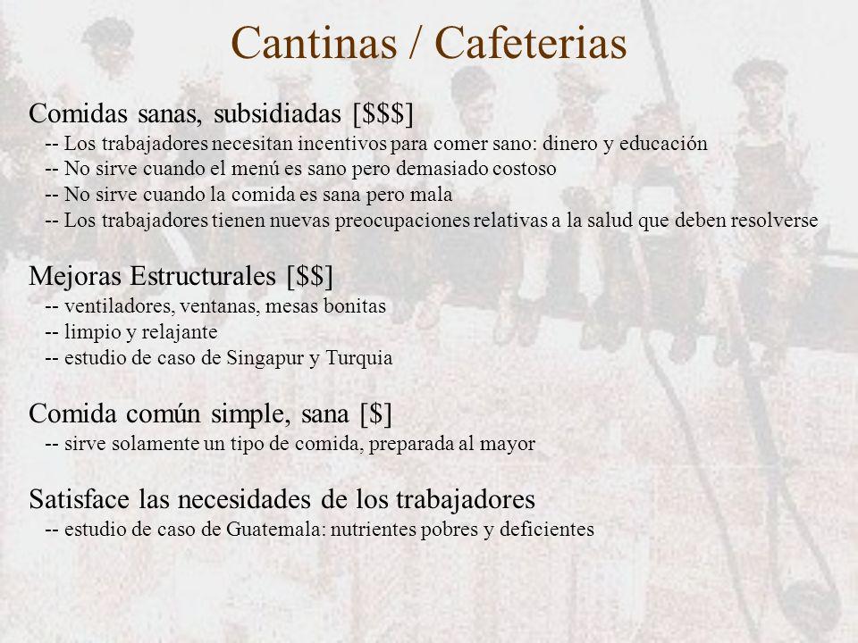 Cantinas / Cafeterias Comidas sanas, subsidiadas [$$$] -- Los trabajadores necesitan incentivos para comer sano: dinero y educación -- No sirve cuando