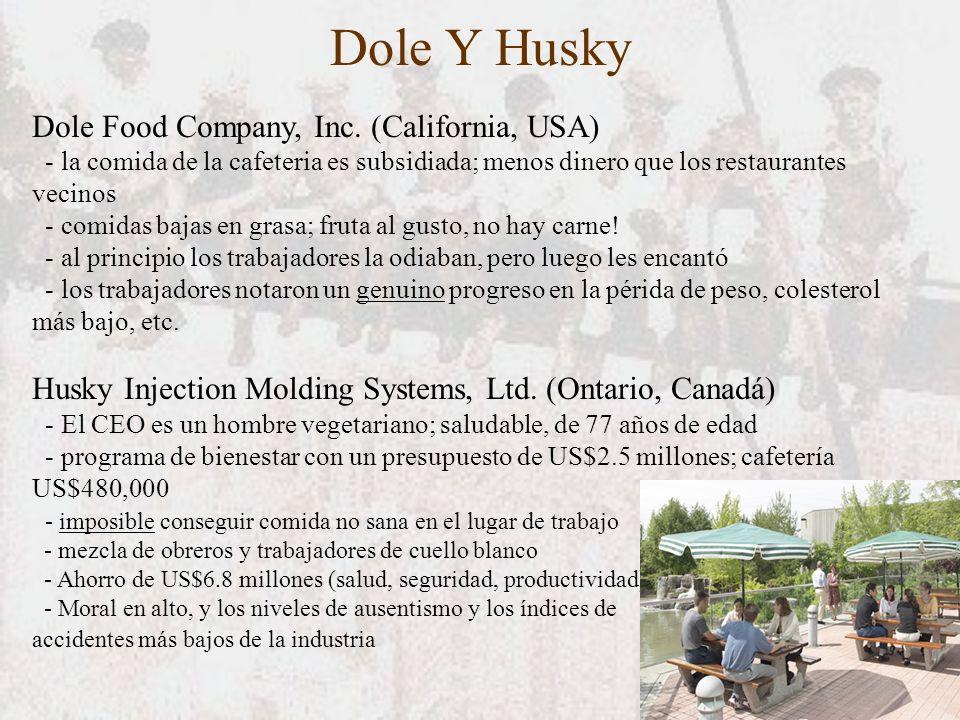Dole Y Husky Dole Food Company, Inc. (California, USA) - la comida de la cafeteria es subsidiada; menos dinero que los restaurantes vecinos - comidas