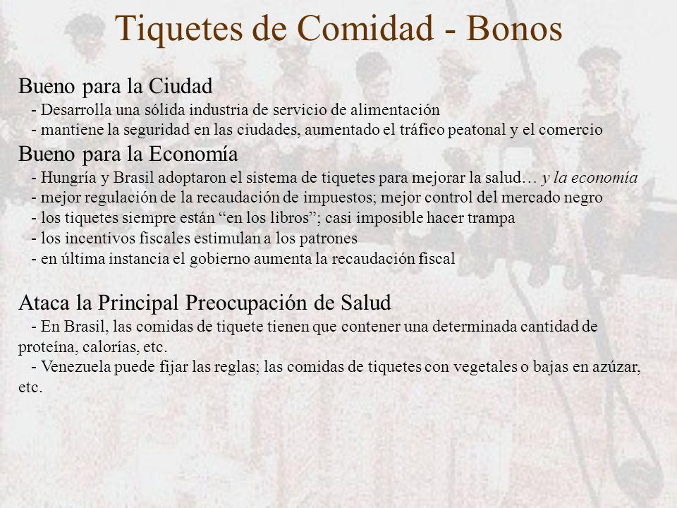 Tiquetes de Comidad - Bonos Bueno para la Ciudad - Desarrolla una sólida industria de servicio de alimentación - mantiene la seguridad en las ciudades