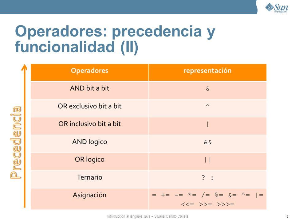 Introducción al lenguaje Java – Silvana Canuto Canete 15 Operadores: precedencia y funcionalidad (II)