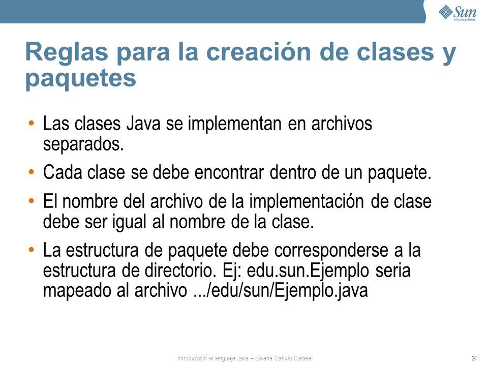 Introducción al lenguaje Java – Silvana Canuto Canete 24 Reglas para la creación de clases y paquetes Las clases Java se implementan en archivos separados.