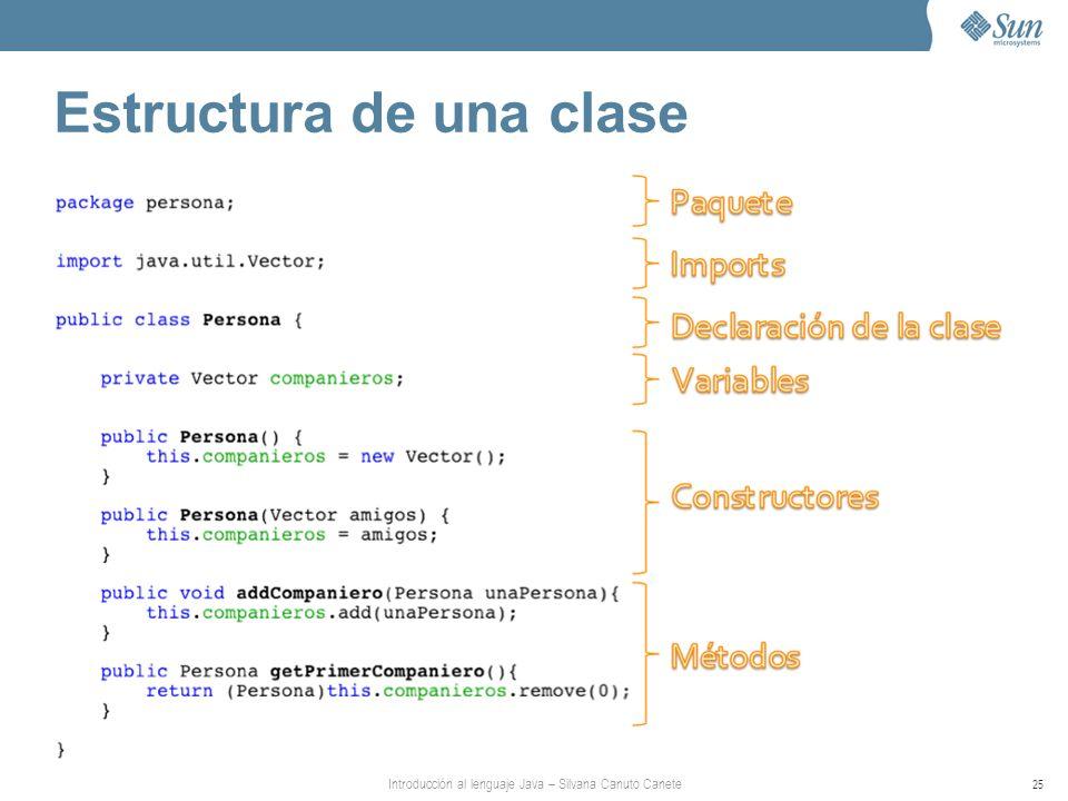 Introducción al lenguaje Java – Silvana Canuto Canete 25 Estructura de una clase