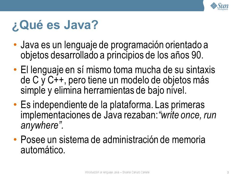 Introducción al lenguaje Java – Silvana Canuto Canete 3 ¿Qué es Java? Java es un lenguaje de programación orientado a objetos desarrollado a principio