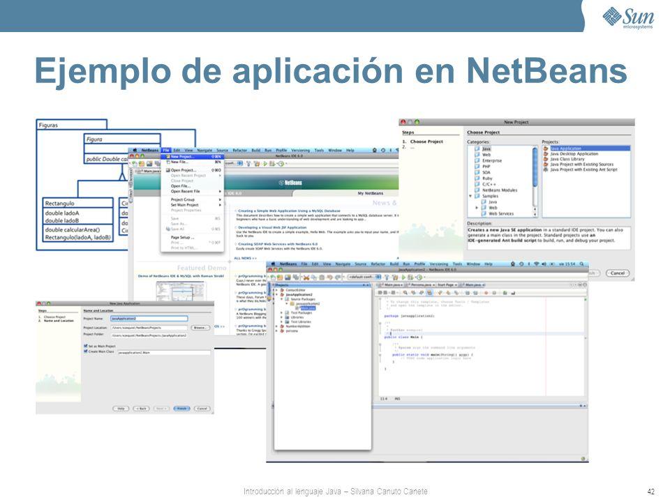 Introducción al lenguaje Java – Silvana Canuto Canete 42 Ejemplo de aplicación en NetBeans