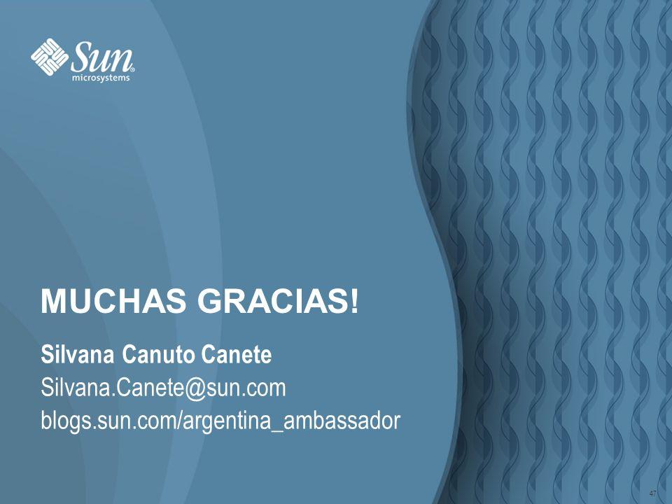 47 MUCHAS GRACIAS! Silvana Canuto Canete Silvana.Canete@sun.com blogs.sun.com/argentina_ambassador 47