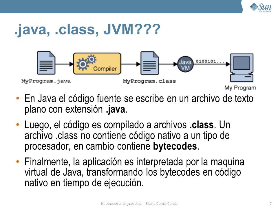 Introducción al lenguaje Java – Silvana Canuto Canete 7.java,.class, JVM??? En Java el código fuente se escribe en un archivo de texto plano con exten
