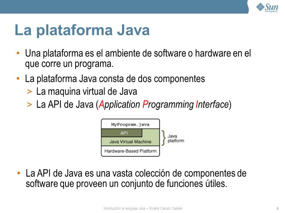 Introducción al lenguaje Java – Silvana Canuto Canete 9 La plataforma Java Una plataforma es el ambiente de software o hardware en el que corre un programa.