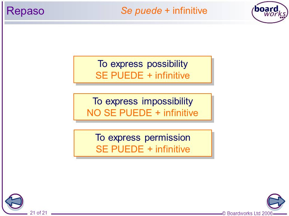 © Boardworks Ltd 2006 21 of 21 To express possibility SE PUEDE + infinitive To express possibility SE PUEDE + infinitive Se puede + infinitive To expr