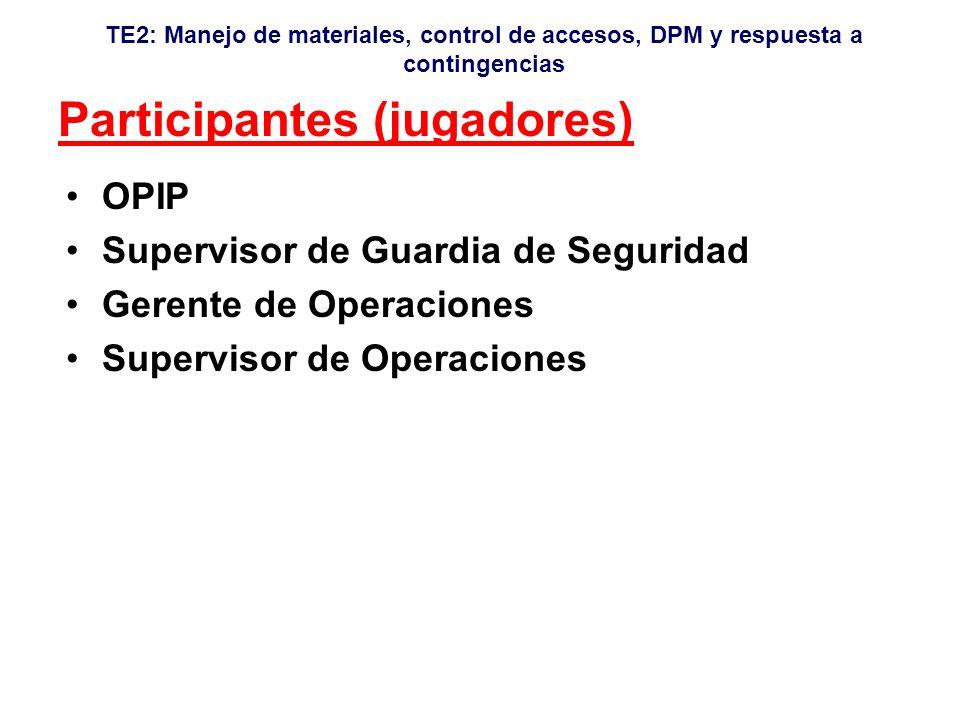TE2: Manejo de materiales, control de accesos, DPM y respuesta a contingencias Participantes (jugadores) OPIP Supervisor de Guardia de Seguridad Gerente de Operaciones Supervisor de Operaciones