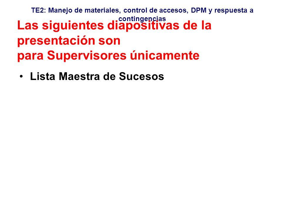 TE2: Manejo de materiales, control de accesos, DPM y respuesta a contingencias Las siguientes diapositivas de la presentación son para Supervisores únicamente Lista Maestra de Sucesos