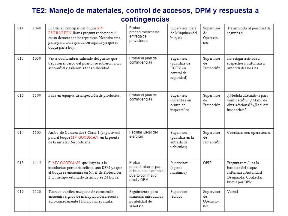 TE2: Manejo de materiales, control de accesos, DPM y respuesta a contingencias 0141040El Oficial Principal del buque MV EVERGREEN llama preguntando po