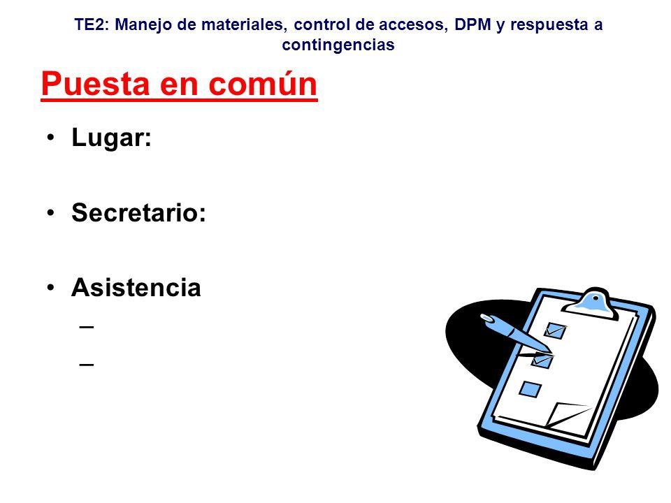 TE2: Manejo de materiales, control de accesos, DPM y respuesta a contingencias Puesta en común Lugar: Secretario: Asistencia –
